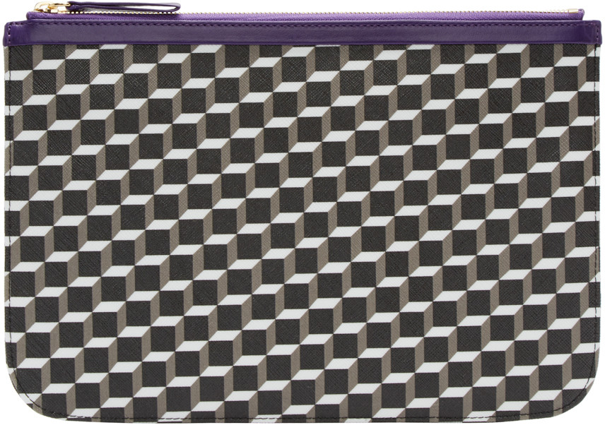 Tricolor Perspective Cube Zip Pouch, Black