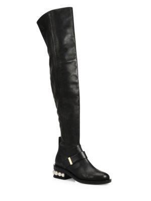 Casati Pearly Heel Leather Over-The-Knee Boots, Black