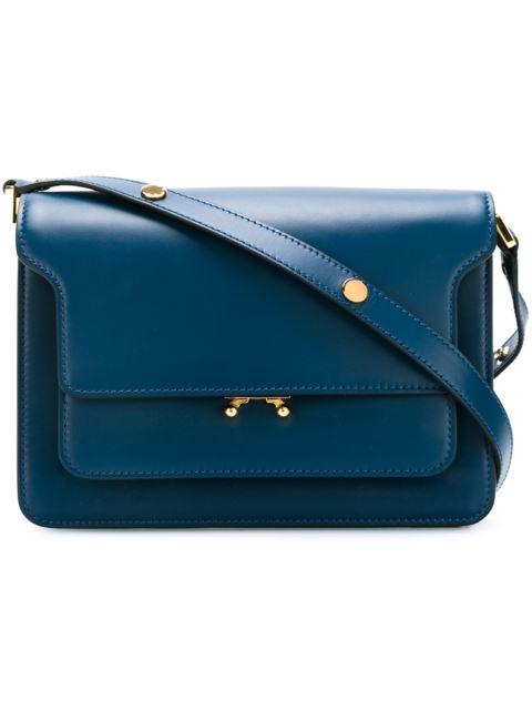 Trunk Leather Shoulder Bag in Blue