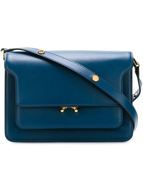 Trunk Leather Shoulder Bag, Blue