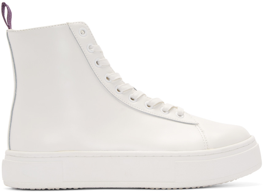 Kibo Polished Leather High Top Sneakers, White