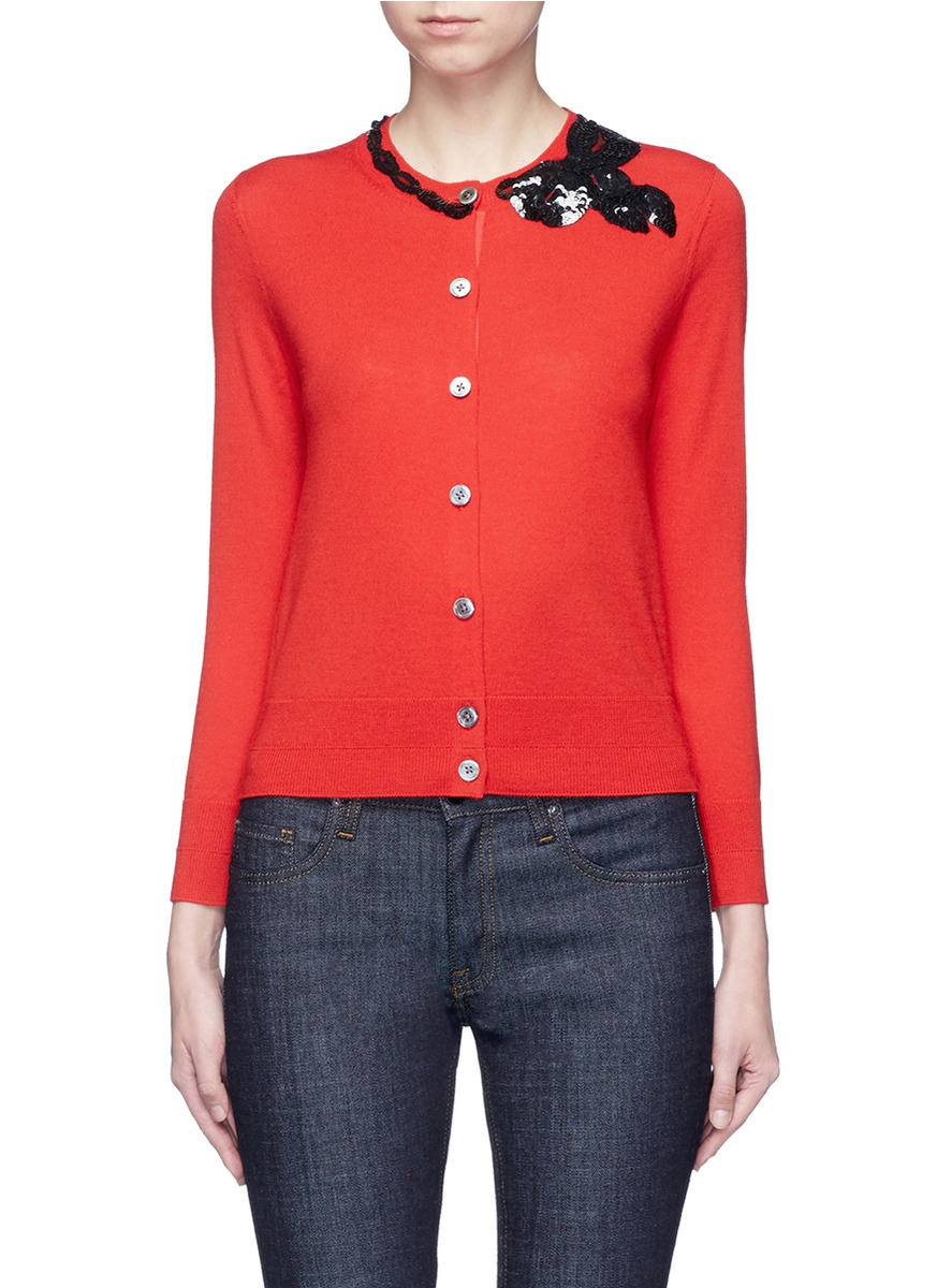 MARC JACOBS Sequin Bow Embellished Wool Cardigan in Red | ModeSens