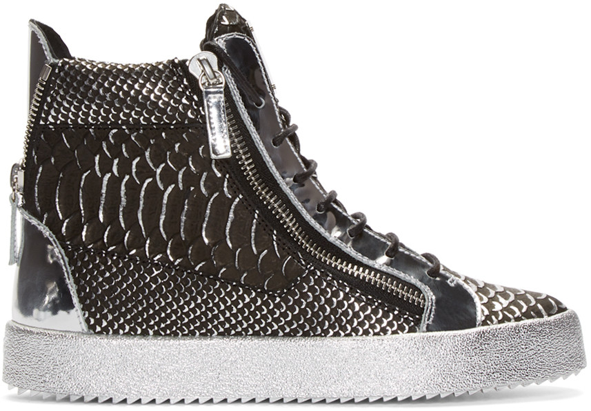 Giuseppe Zanotti Croc-Embossed London High-Top Sneakers