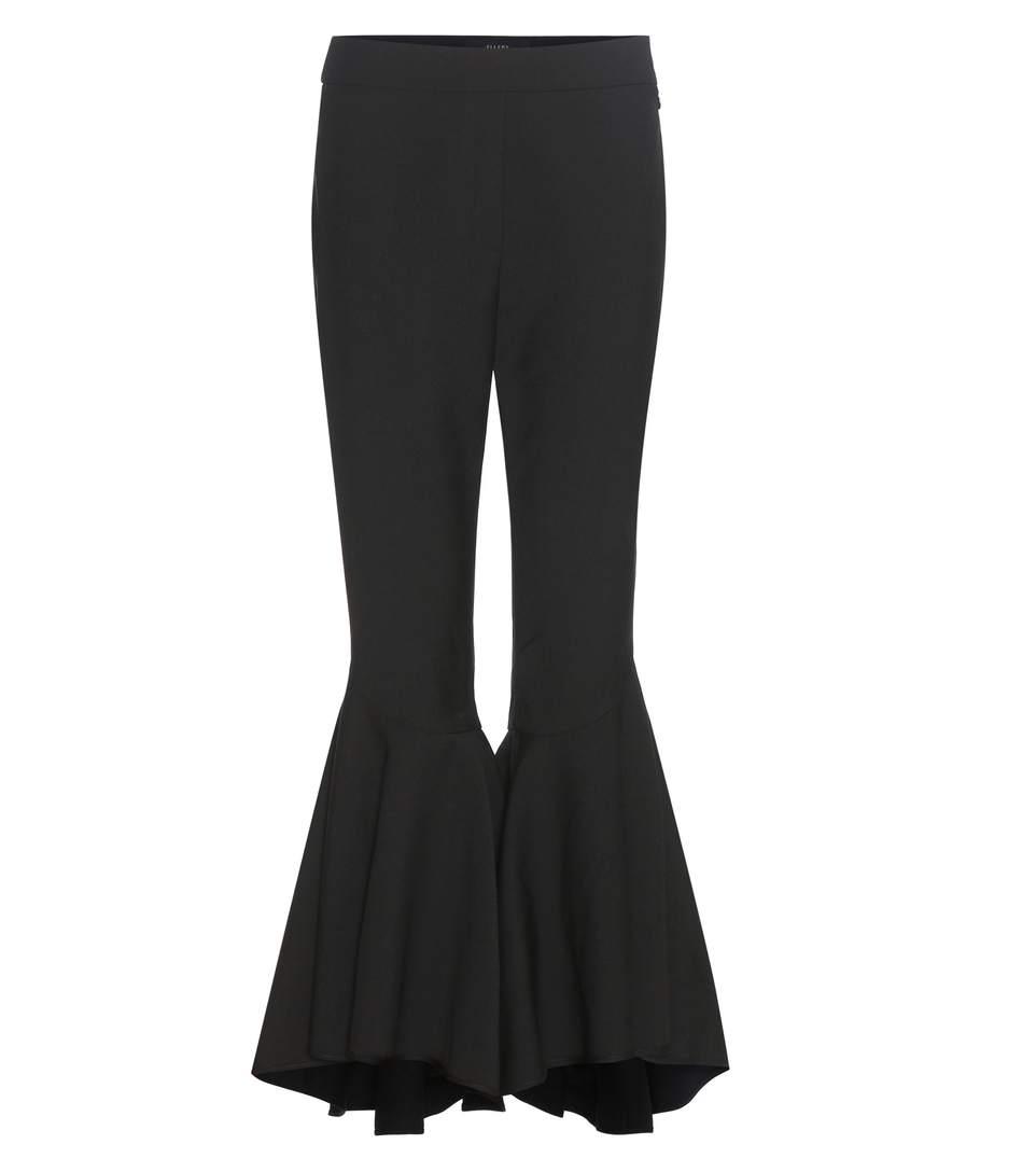 Femme Ellery Laine Mélangée Tissée Évasée Pantalon Noir Taille 12 Ellery kWiHVM7e