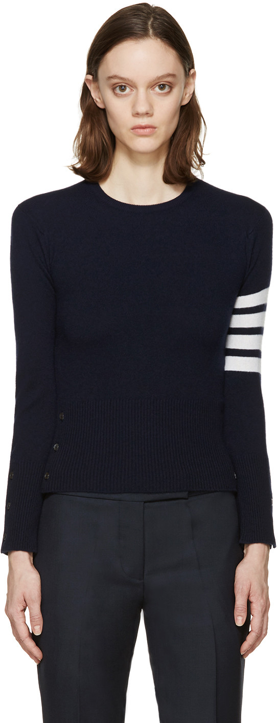 Navy Cashmere Striped Armband Pullover in Blue