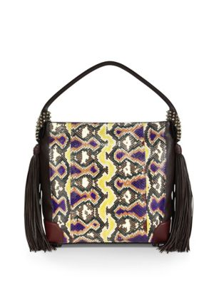 CHRISTIAN LOUBOUTIN Eloise Empire Studded Snake-Print Leather Hobo Bag,  Black-Multi