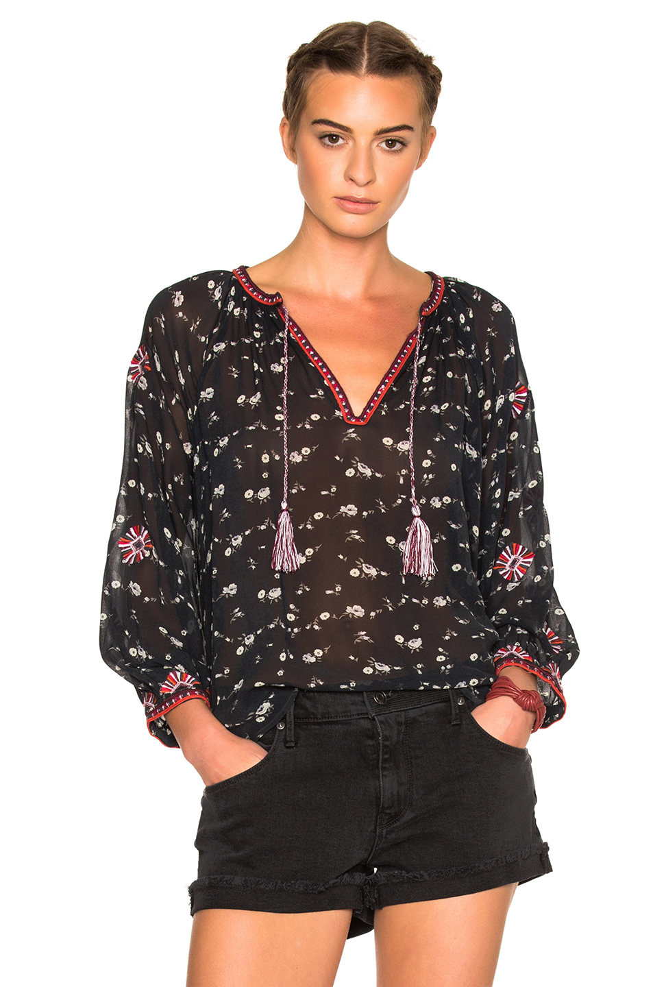 Lida Floral Georgette Blouse, Midnight