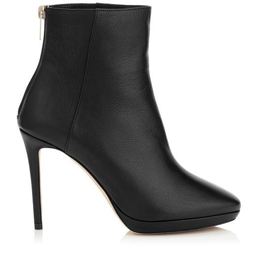 Harvey 100 Black Grainy Calf Leather Platform Ankle Boots