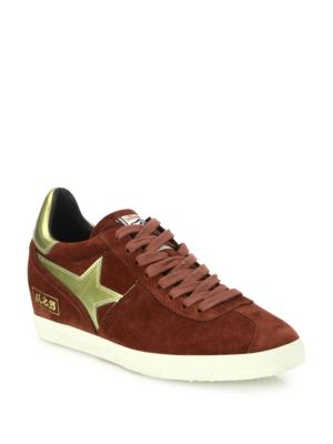 Guepard Bis Suede & Faux Metallic Leather Wedge Sneakers, Barolo-Gold
