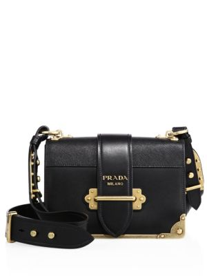 Cahier Small Leather Trunk Crossbody Bag, Black