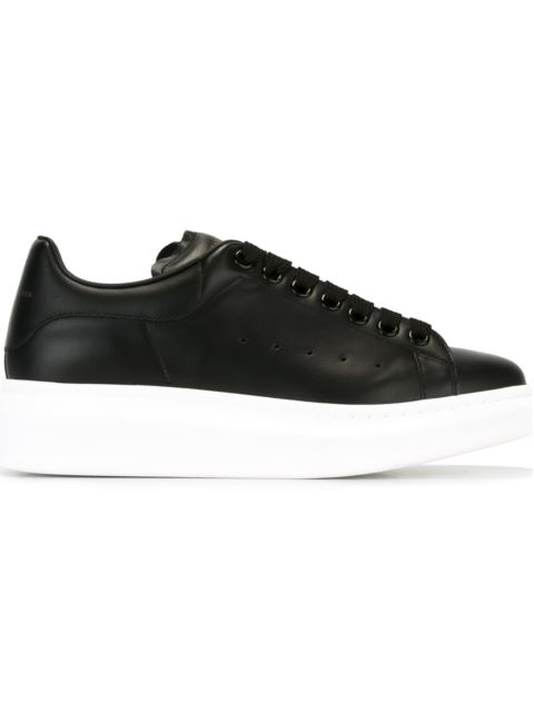 Ladies Runway Leather Platform Trainers, Black