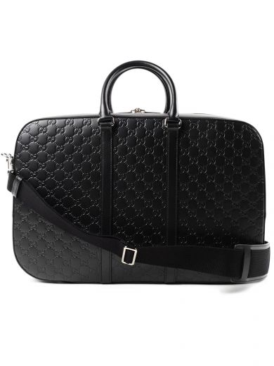 Signature Strap Leather Duffel - Black
