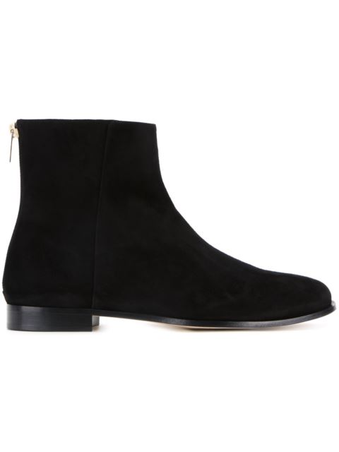 Duke Flat Suede Ankle Boots, Black