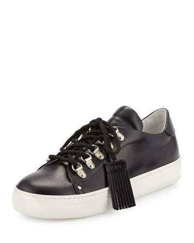 Flat Leather Hiking Sneaker, Black