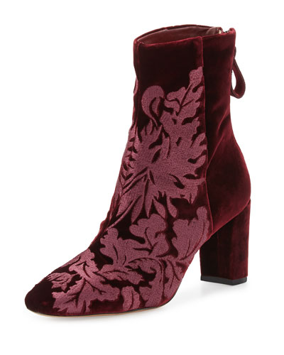 Regina Embroidered Velvet Ankle Boots in Red