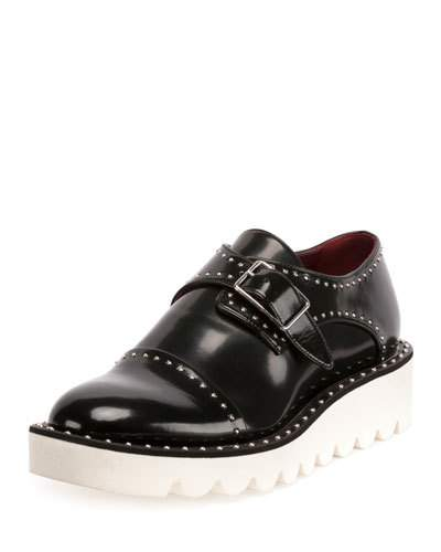 Woman Odette Studded Faux Glossed-Leather Brogues Black