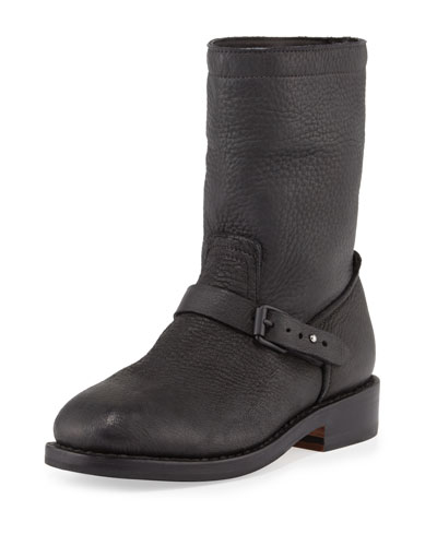 RAG & BONE Oliver Pebbled Leather Boot, Black