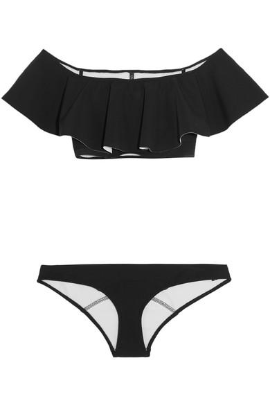 Mira Flounce Off-The-Shoulder Bonded Bikini, Black/White