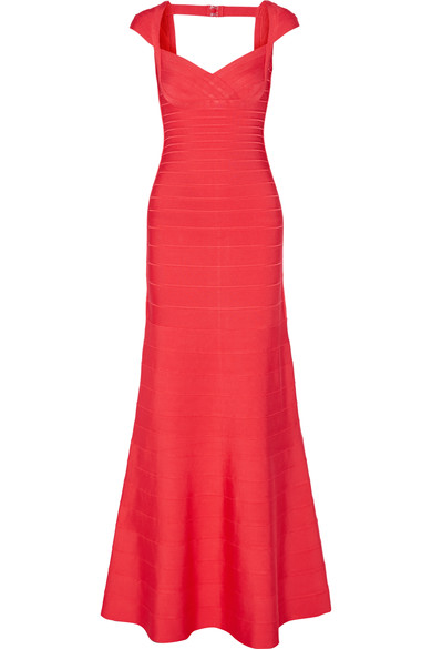 HERVE LEGER Cap-Sleeve Sweetheart Bandage Gown, Coral Poppy