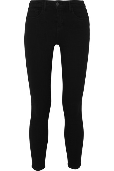The Margot Cropped High-Rise Skinny Jeans, Noir