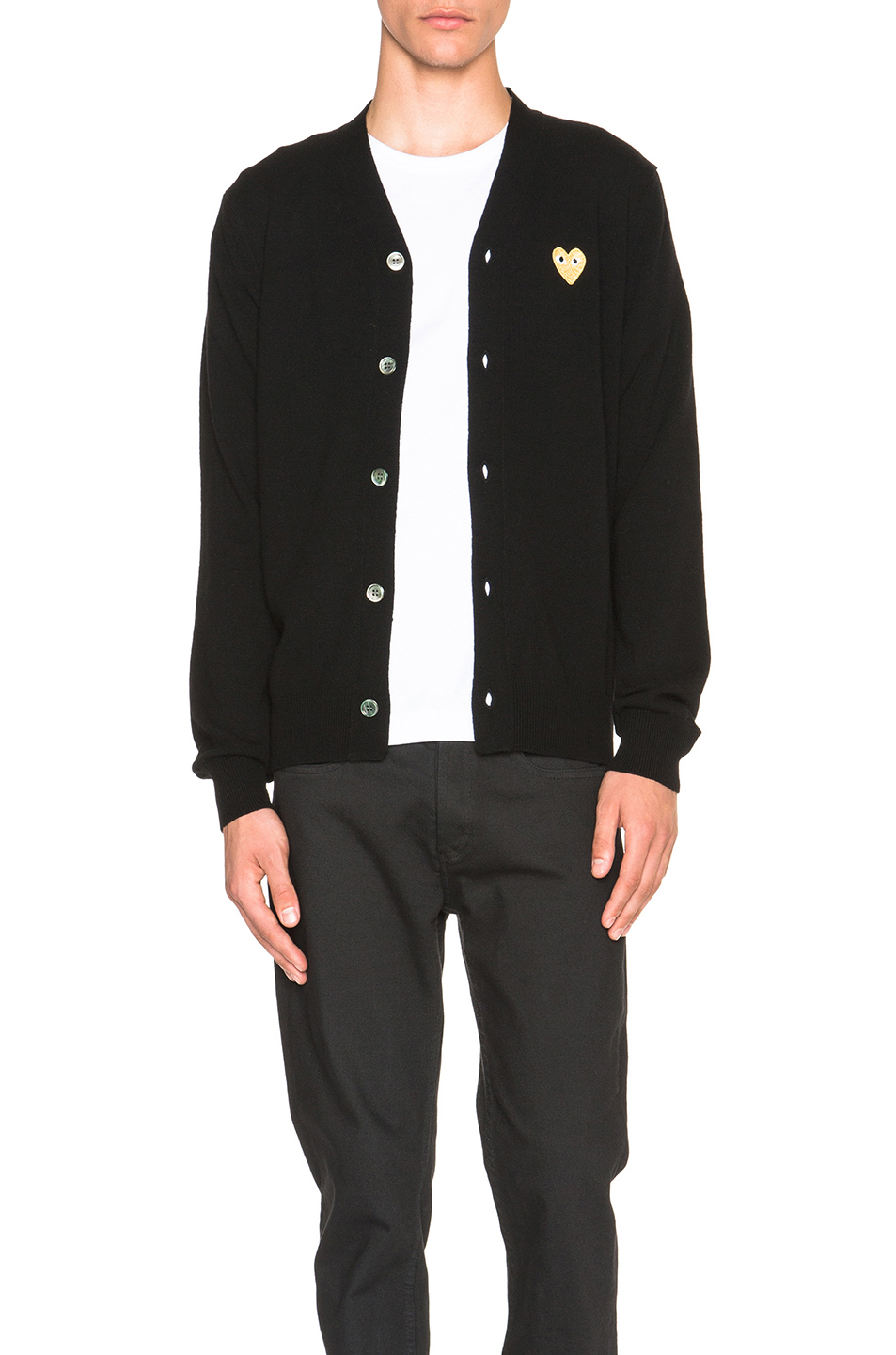 COMME DES GARÇONS PLAY Comme Des Garcons Play Cardigan With Gold Emblem In Blue.  in Black