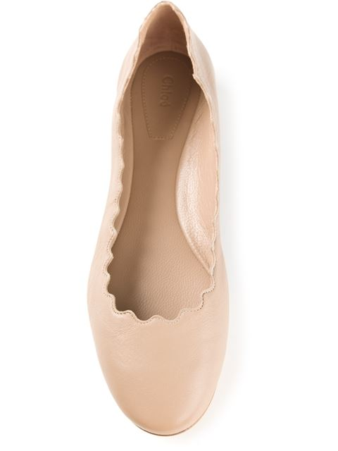 Lauren Scalloped Leather Ballerina Flat, Light Pink, Nude
