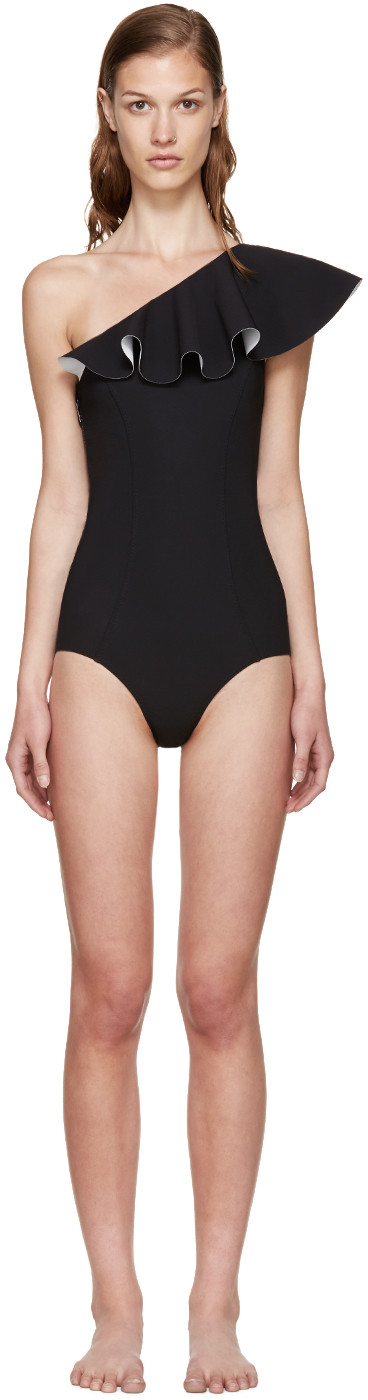 Arden Double Ruffle One-Shoulder Bonded Swimsuit, Black