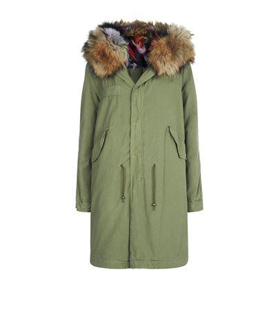 Fur-Trimmed Canvas Midi-Parka - Dk. Green Size Xxs