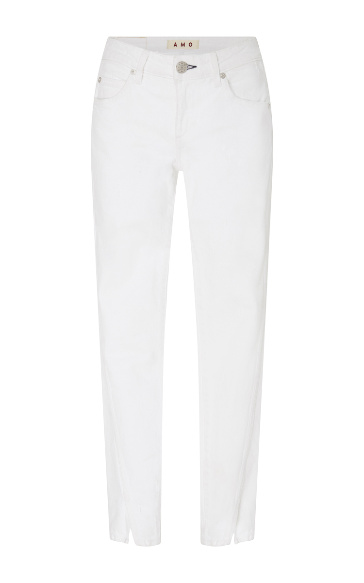 Vintage Split Ankle Mid Rise Skinny Jeans in White