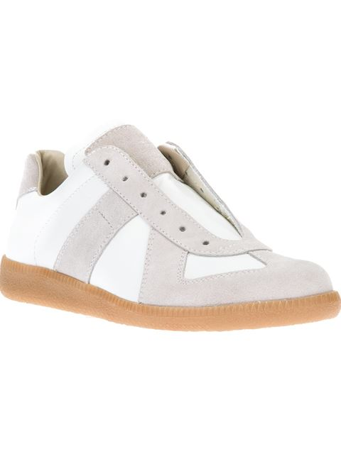White Leather & Suede Replica Sneakers