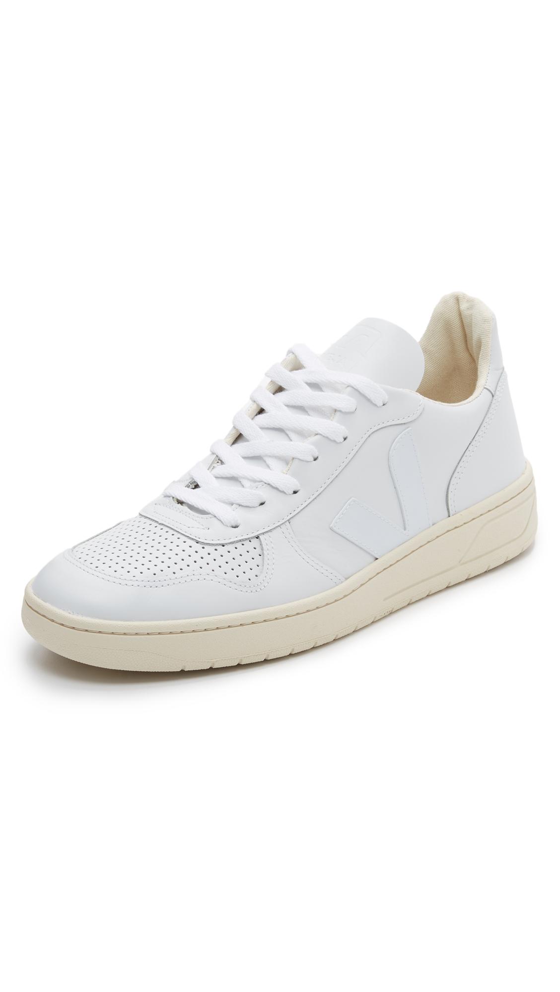VEJA V-10 Rubber-Trimmed Leather Sneakers - White
