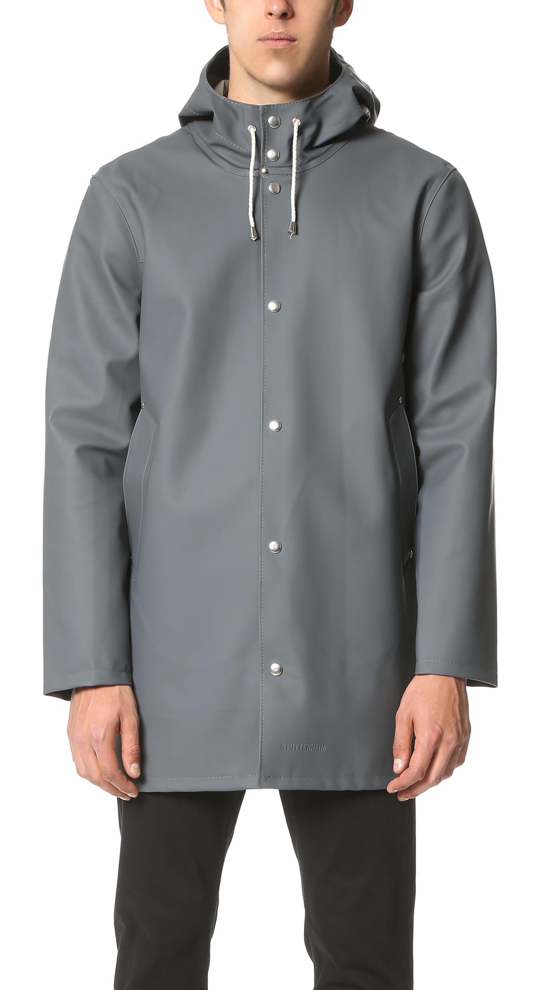 Stockholm Coated-Tech-Fabric Raincoat, Charcoal