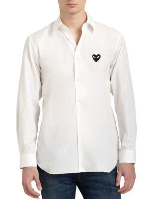Comme Des Garcons Play Small Black Emblem Cotton Button Down In White