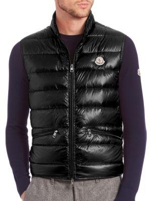 Tib Nylon Laqué Down Vest in Black