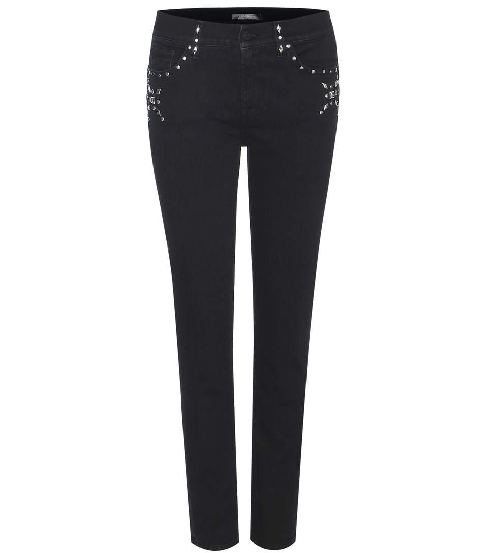 Roxanne Crop Embellished Jeans, Black