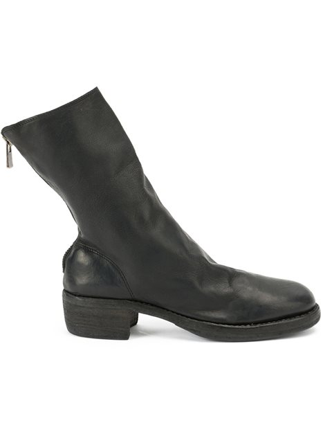 Zipped Mid-Calf Boots, Black