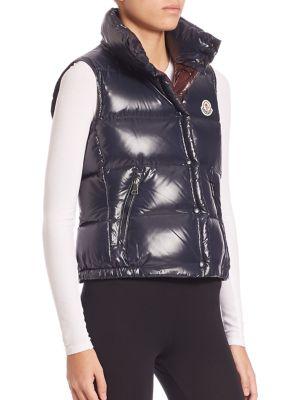Galene Down-Filled Tech-Taffeta Hooded Vest, Navy