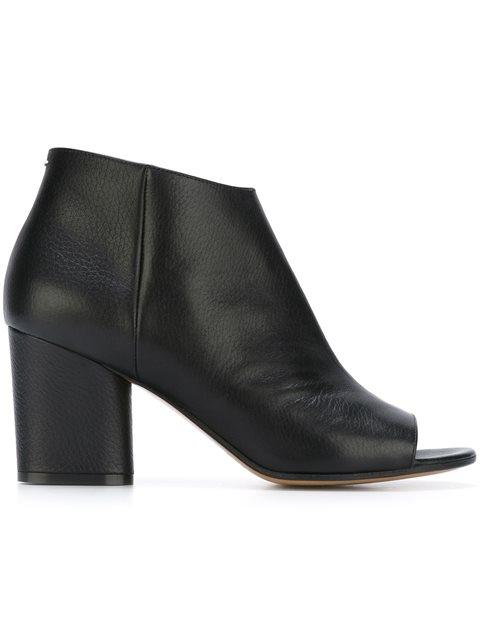 Leather Peep Toe Curved-Heel Booties, Black
