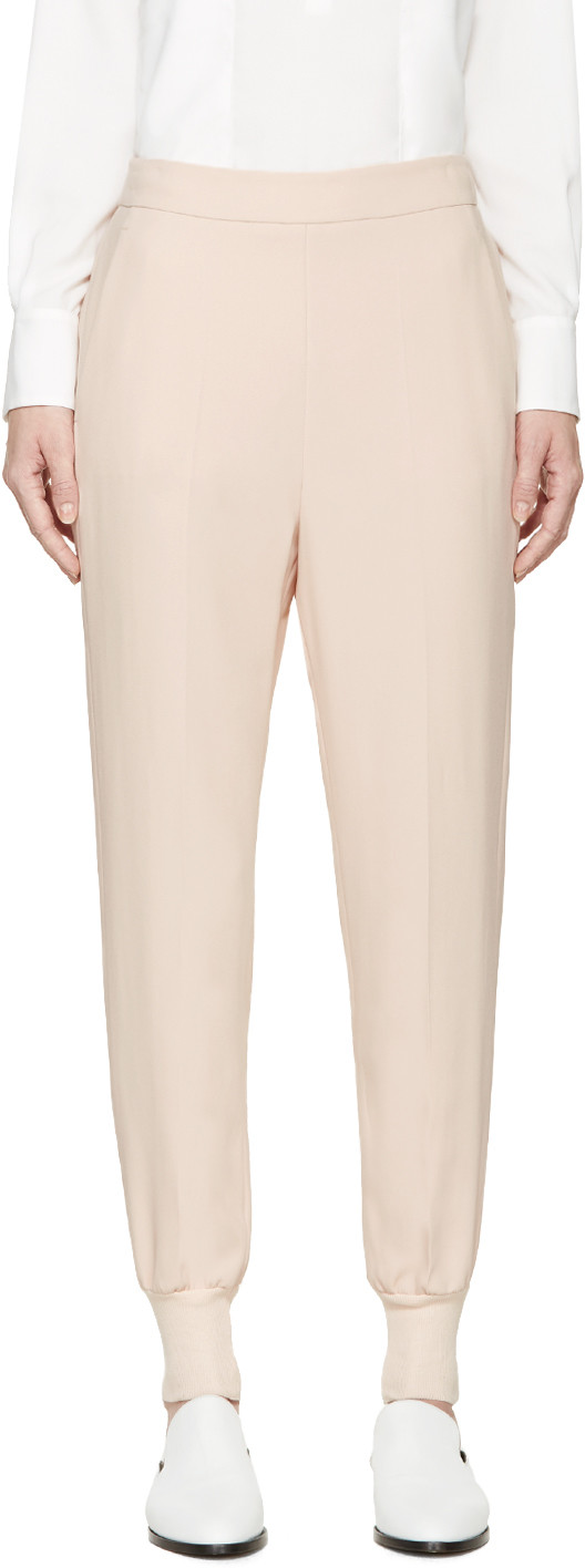 Julia Stretch Crepe-Cady Trousers in Pink