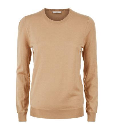Bempton Tartan Elbow Patch Merino Wool Sweater in Beige