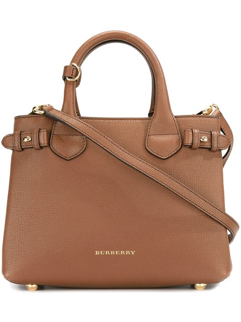 BURBERRY The Medium Banner Aus Leder Und House Check-Gewebe in Brown