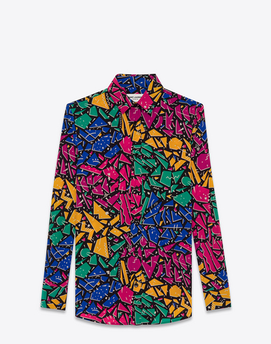Paris Collar Shirt In Multicolor 80'S Graffiti Printed Silk Crêpe, Multicolour