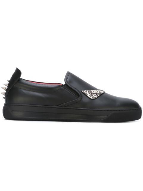 6ae8faa32149 Fendi Monster Eyes Leather Slip-On Sneaker