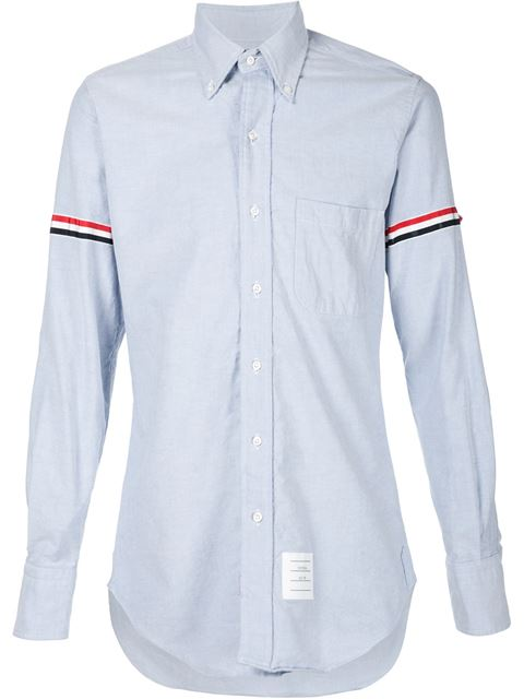 THOM BROWNE Signature-Stripe Armband Regular-Fit Cotton Shirt, Blue
