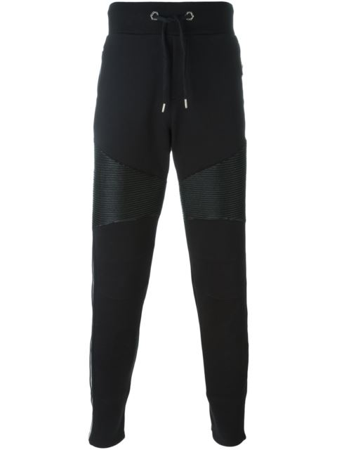 PHILIPP PLEIN Moto-Detailed Cotton Jogging Bottoms, Black