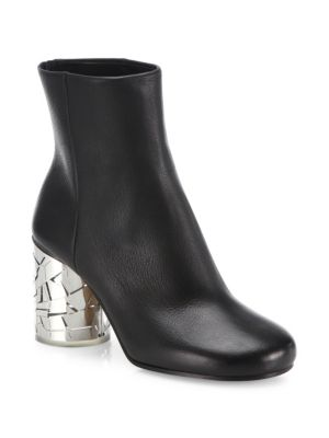 Leather Ankle Boots With Statement Heel in Black