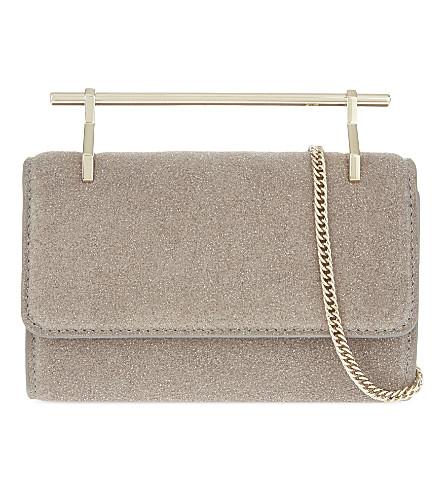 M2MALLETIER Fabricca Mini Glittered Leather Shoulder Bag in Neutrals