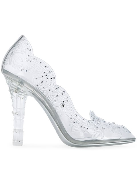 Dolce And Gabbana Silver Crystal Cinderella Pumps in Metallic
