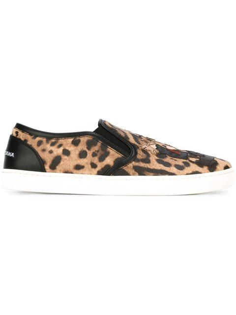 Woman Appliquéd Leopard-Print Textured-Leather Slip-On Sneakers Animal Print