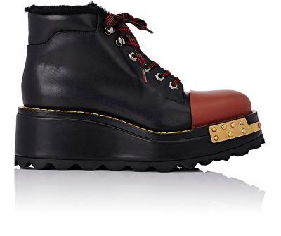 PRADA Buckle Leather 60Mm Hiking Boot, Black/Scarlet (Nero/Scarlatto), Nero+Scarlatto in Black-Multi